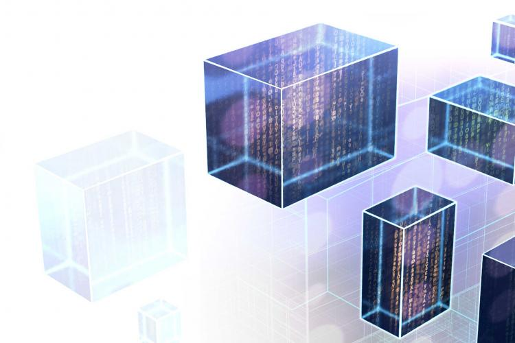 Lines of code and data in vertical cubes; representing CACI as a AWS partner and Microsoft Cloud Solution provider.