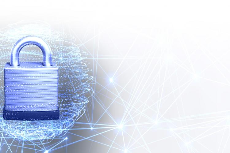 Padlock protecting digital data; representing CACI's cybersecurity/data security solutions for military and government customers.